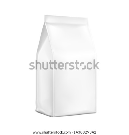 Vertical package mockup with sealed edges. High realistic detail. Ready to use. Suiteble for the presentation of food, for pets, household, etc. EPS10.