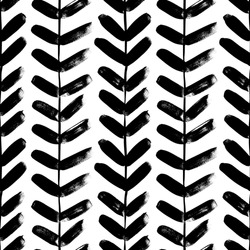 Vertical plant with leaves black paint vector seamless pattern. Hand drawn foliage branch silhouette, liana, chevron texture, herringbone. Grunge tribal vector background. Monochrome botanical design