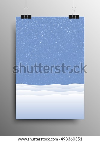 vertical poster banner a4 sized vector hanging with paper clips white snow falling blue background