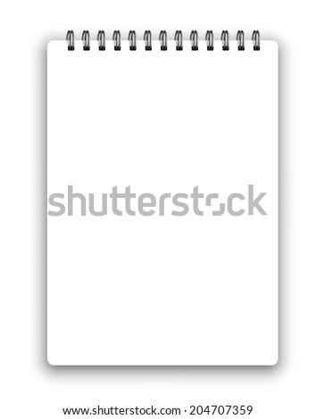 Vertical realistic spiral notepad notebook isolated on white vector