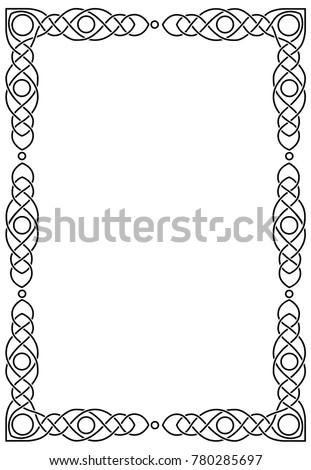 Vertical rectangular celtic frame.