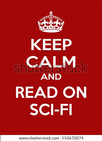 Vertical rectangular red-white motivation read sci-fibook poster based in vintage retro style Keep clam