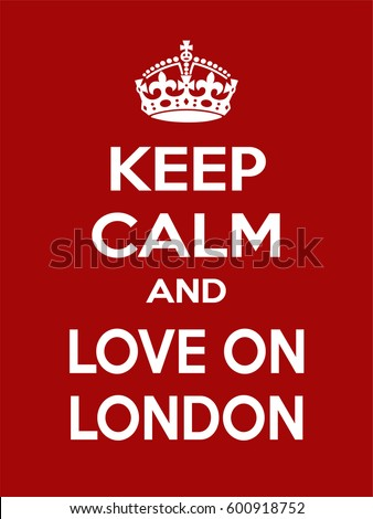 Vertical rectangular red-white motivation the love on London poster based in vintage retro style