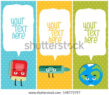 Vertical School banners or Bookmarks. Earth, crayon, abc, alphabet characters