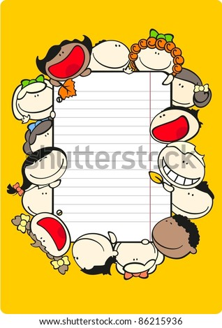 Vertical school theme frame with kids
