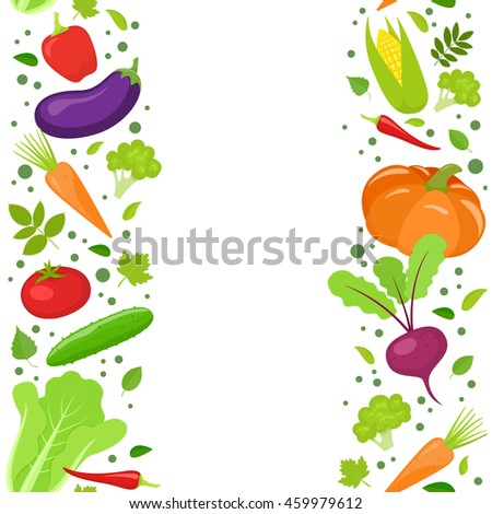 Vertical seamless borders of colorful vegetables. Vector stock illustration. #459979612