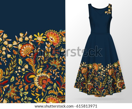 Vertical seamless fashion background. Women's long dress mock up with bright seamless hand drawn pattern for textile, paper print. Isolated dark blue dress with orange brown pattern. vector