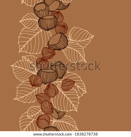 vertical seamless pattern of a set of hazelnuts & kernels, for menu design or confectionery, textiles, vector illustration with colored contour lines on a brown background in doodle & hand drawn style