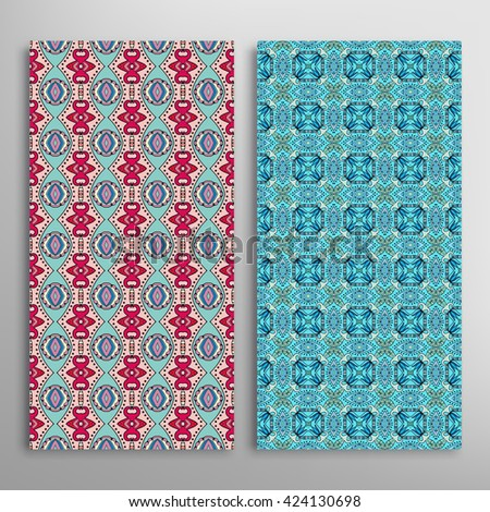 Vertical seamless patterns set, floral geometric lace texture for Wedding, Bridal, Valentine's day, greeting cards or Birthday Invitations. Decorative seamless backgrounds, tribal ethnic ornament #424130698