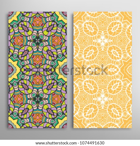 Vertical seamless patterns set, floral geometric lace texture for Wedding, Valentine's day, greeting cards or Birthday Invitations. Decorative seamless backgrounds. Ethnic ornament, border pattern