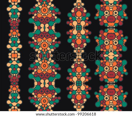 Vertical seamless patterns. Vector illustration of cool ornaments.