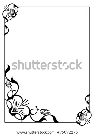 Vertical silhouette flower frame simple black and white frame with vertical silhouette flower frame simple black and white frame with abstract flowersctor clip mightylinksfo