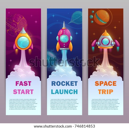 Vertical space banners set. Rocket launch marketing illustration. Vector typography design templates with cartoon spaceships