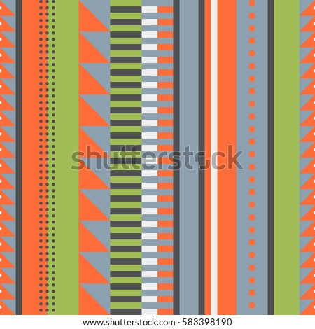 Vertical striped vintage style background with geometric shape elements. Vector seamless pattern