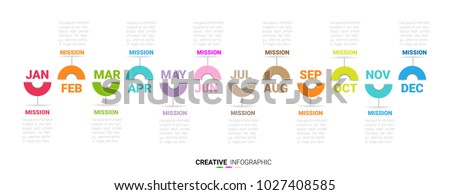 Vertical Time Line January To December , Timeline for 12 months, 1 year, Timeline infographics design vector and Presentation business can be used for Business concept with 12 options,
