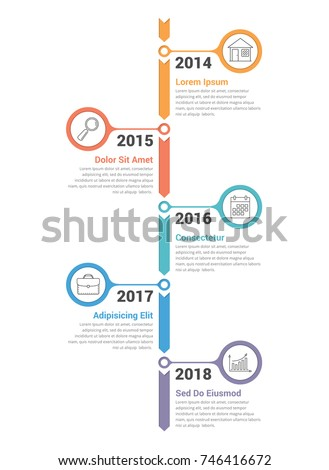 Vertical timeline infographics template with arrows, vector eps10 illustration