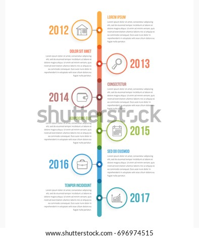 Vertical timeline infographics template with colorful circles, workflow or process diagram, vector eps10 illustration