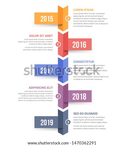 Vertical timeline infographics template with five arrows, vector eps10 illustration