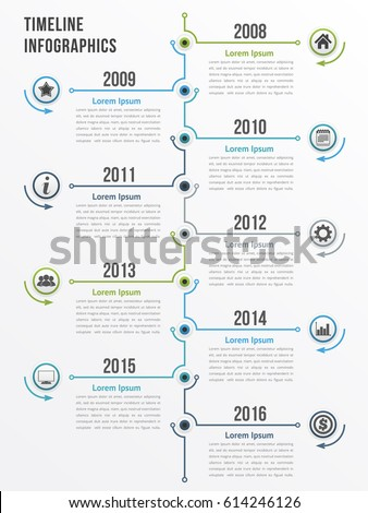 Vertical timeline infographics template, workflow or process diagram, flowchart, vector eps10 illustration