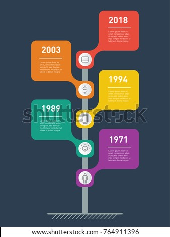 Vertical Timeline infographics. The development and growth of the business. Business concept with 5 options, parts, steps or processes. Time line of tendencies and trends graph. Road sign or pointer