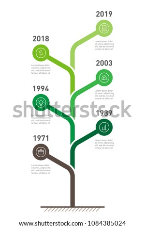 Vertical Timeline infographics. The tree development and growth of the business. Time line of Social tendencies and trends graph. Business concept with 6 parts, steps or processes.