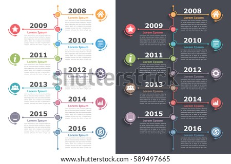 Shutterstock Vertical timeline infographics with place for icons dates and text, vector eps10 illustration