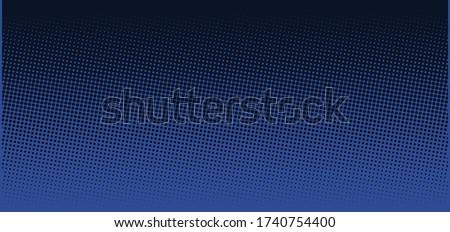 Vertical vector gradient deep dark blue comic pop-art halftone background template, texture. Vector illustration Geometric vintage monochrome fade wallpaper. Pop art print. Dotted retro pattern.  Foto stock ©