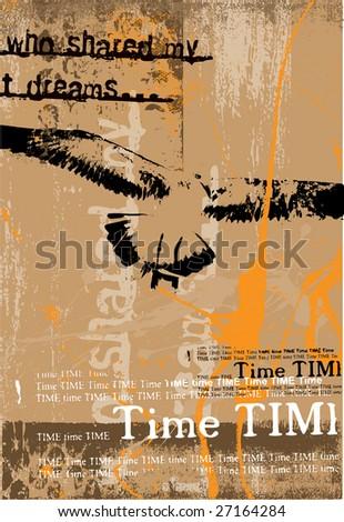 Vertical vector grunge background with bird and typographie