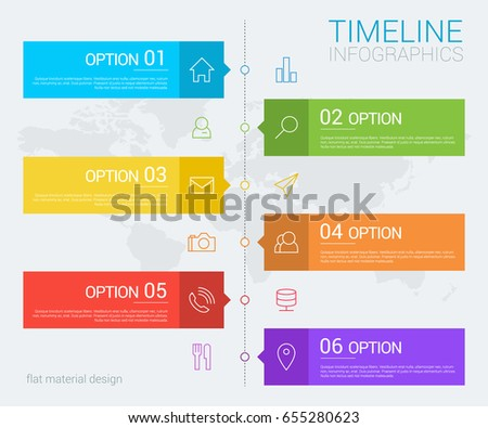 Vertical vector timeline info graphic with line icons