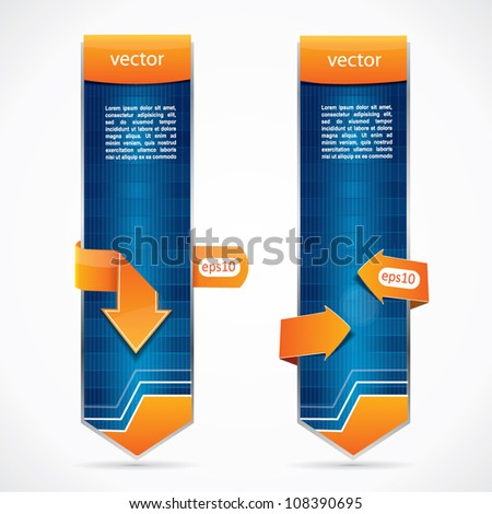 Vertical web style editable blue banners with orange arrows and place for ad or text
