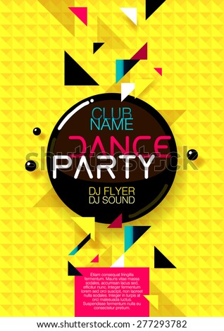 Vertical yellow music party background with colorful graphic elements and place for text.  Vector illustration.