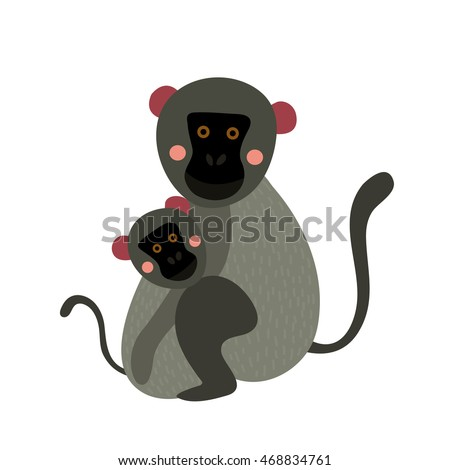 vervet monkey mother and child