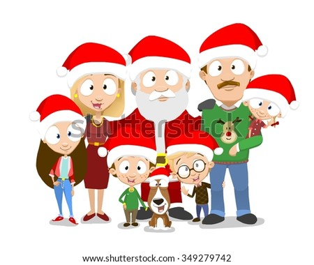 Very adorable big family portrait celebrating christmas with santa isolated on white background