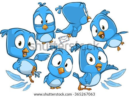 very adorable blue cartoon bird