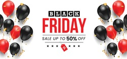 Very attractive & standard banner for Black Friday sale up to 50% off (can be replaced with any value) with 3d black & red balloons and confetti on white background.