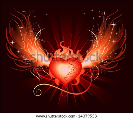 very beautiful hot,fiery, luminous heart of the phoenix with burning wing with frames and sparks on black background - stock vector