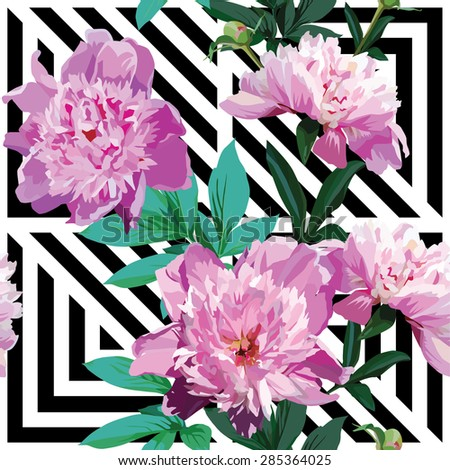 Very beautiful nature summer floral seamless vector pattern made up of a trendy pink peony with green leaves on a stripe geometric black and white background. Fashion flower wallpaper