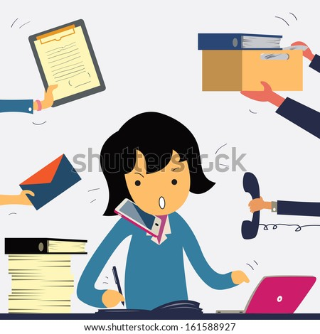 Very busy business woman working hard on her desk in office with a lot of paper work talking on smart phone Business concept on hard working