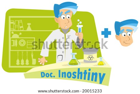 very clever mature inventor in his lab