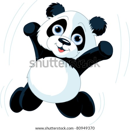 very cute jumping happy panda