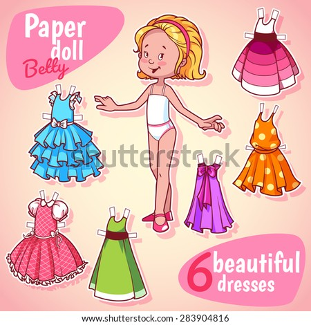 very cute paper doll with six