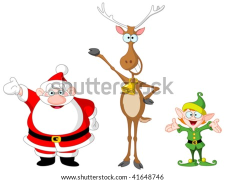 Very cute Santa Claus, rudolph and elf