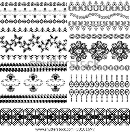 Very Detail Henna Art Inspired Border Designs   Stock Vector