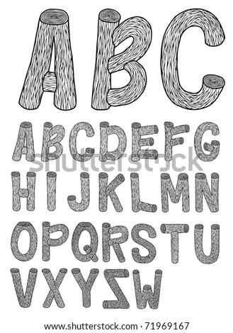 Very detailed hand drawn and sketched wood font