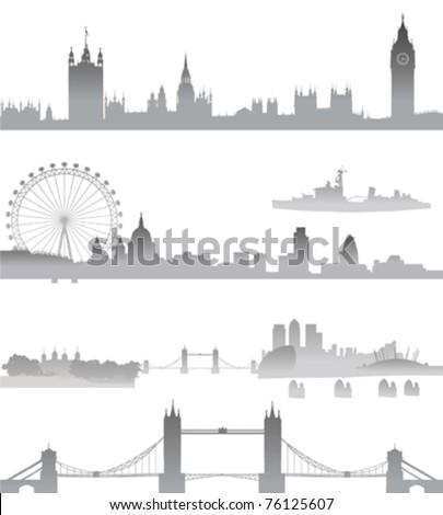 very detailed london skyline
