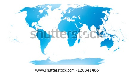 Very detailed map of the world in blue and green.