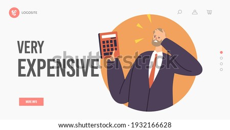 Very Expensive Price Landing Page Template. Upset Businessman Character with Calculator Shocked with Price. Unhappy Dissatisfied Man Surprised with High Cost Bill. Cartoon People Vector Illustration Stockfoto ©