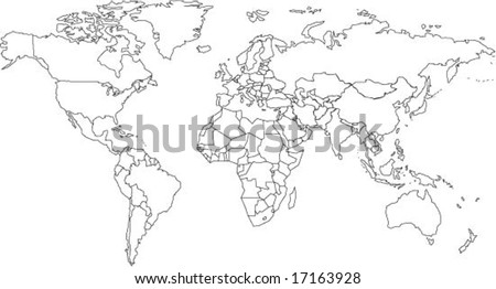 Map outlines download free vector art stock graphics images very fine outline of the world with country borders gumiabroncs Image collections