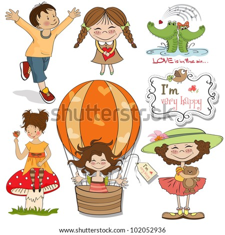 very happy people, items set in vector format isolate on white background