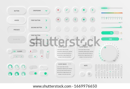 Very high detailed white user interface pack for websites and mobile apps, vector illustration